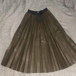 Leather Pleated Midi Skirt